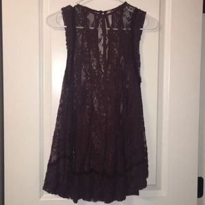 Free People Lace Purple Top XS